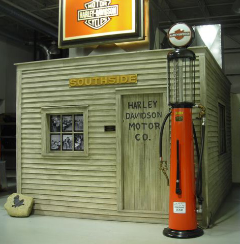 full-size replica of the old Shed in the service department of Indianapolis Southside Harley-Davidson