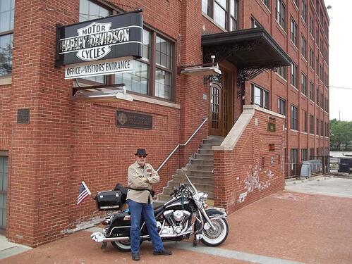 At the old Harley-Davidson Factory entrance on Juneau Ave.