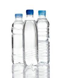 close up of  water plastic bottles on  white background with clipping path