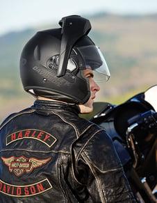Man wearing a harley davidson modular helmet